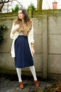 Cream-coat-periwinkle-tights-bronze-scarf-tawny-heels-navy-skirt-ivory