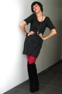 Pink-tights-black-boots-gray-dress-silver-necklace-black-bracelet-blac