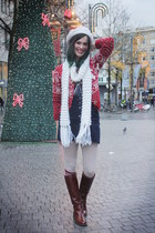 ivory scarf - crimson boots - navy skirt - red cardigan