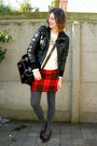 Black-jacket-ivory-sweater-dark-gray-tights-black-bag-red-skirt-crimso