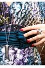 Blue-dress-black-leggings-black-boots-blue-belt-silver-accessories