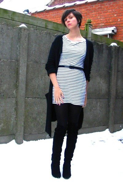 white dress - black sweater - black tights - black boots - black earrings