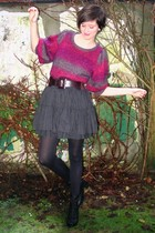 pink sweater - black skirt - black boots - black tights - purple belt