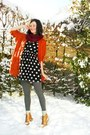 Tawny-cardigan-maroon-scarf-bronze-boots-black-dress-gray-tights-off-w