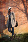 Dark-brown-boots-navy-dress-tan-coat-ivory-hat