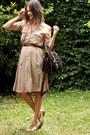 Ivory-shoes-tan-dress-black-bag-dark-brown-belt