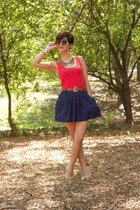 hot pink dress as a top Forever 21 top - navy Forever 21 skirt