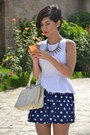 White-shasa-top-ruby-red-shoes-navy-polka-dot-skirt