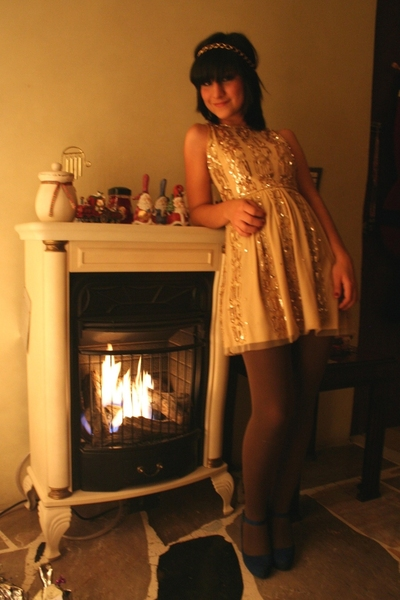 dress - tights - shoes - made by my sister accessories