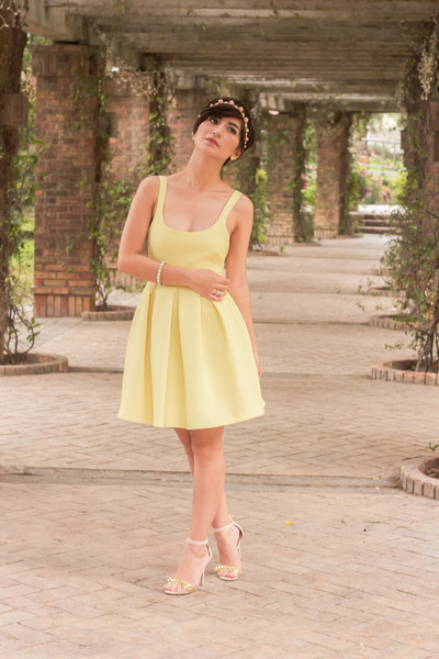 light yellow Zara Trf dress - neutral Charlotte Russe heels