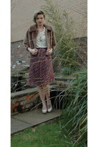 brown fur vintage coat - beige Topshop t-shirt