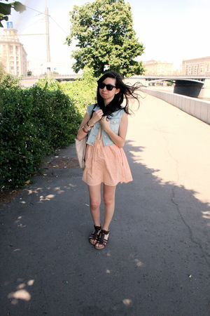 orange Topshop dress - blue Topshop vest - brown bloomingdales shoes - beige lon