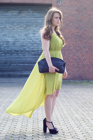 lime green high low AX Paris dress - black H&amp;M bag - black bullboxer pumps