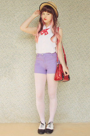 light purple pastel OASAP shorts - beige boater wholesale hat