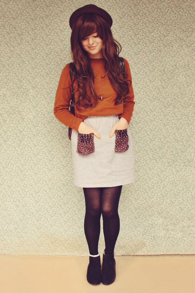 light brown DIY skirt - black asos boots - dark brown OASAP hat