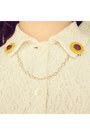 Yellow-collar-clips-diy-accessories-brown-vintage-bag