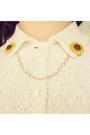 Yellow-collar-clips-diy-accessories-brown-vintage-bag