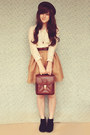 Brown-vintage-bag-black-asos-boots-dark-brown-oasap-hat-beige-oasap-blouse