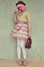 Pink-stripey-vintage-dress-light-brown-suede-forever-21-boots