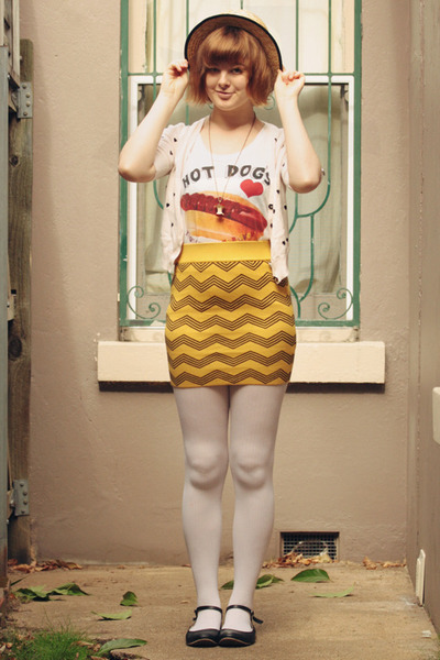 mustard vintage skirt - beige wholesale hat - white OASAP tights