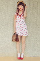 ruby red sailor bows mod dolly dress - beige boater wholesale hat