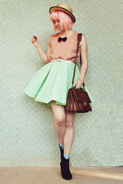 lime green DIY dress - black Rubi shoes boots - beige straw boater wholesale hat