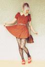 Carrot-orange-baking-soda-dress-black-polka-dot-wholesale-tights