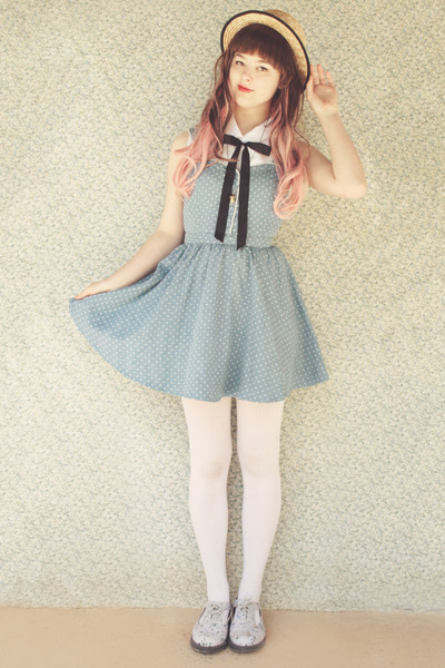 sky blue polka dot Forever 21 dress - periwinkle floral cut-out Dr Martens boots