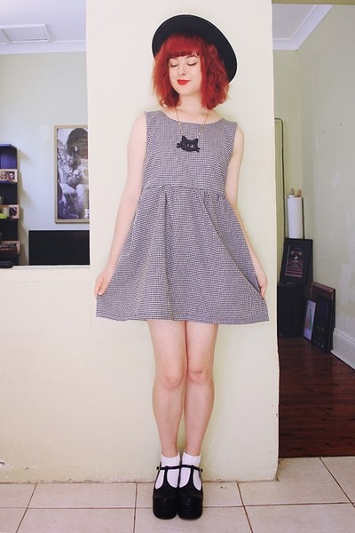 dark gray DIY dress - cat I Love Crafty necklace