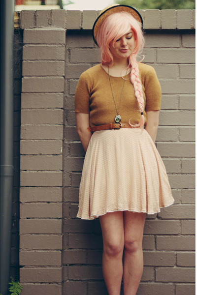 light pink thrifted dress - tan thrifted sweater - bronze thrifted belt