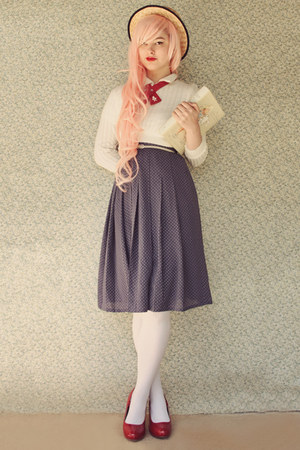 cream vintage sweater - beige wholesale hat - white OASAP tights