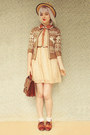 Bronze-oasap-dress-beige-boater-wholesale-hat-dark-brown-vintage-bag