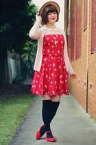ruby red Sheinside dress - beige wholesale hat - black OASAP tights