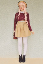 maroon patterned no name sweater - white striped OASAP tights