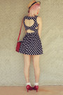 Navy-paper-scissors-dress-beige-wholesale-hat-ruby-red-wholesale-bag