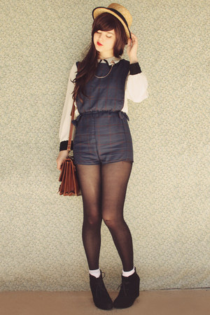 navy DIY romper - black Rubi shoes boots - gold Ebay bag