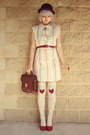 Light-pink-stripy-pastel-vintage-dress-crimson-wool-bowler-vintage-hat