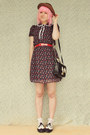 Maroon-forever-21-diy-dress-black-oasap-bag-white-lace-frill-vintage-socks