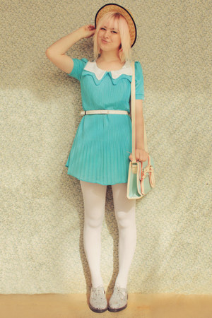 sky blue pleated collar wholesale dress