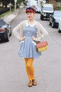 Navy-bonne-chance-dress-mustard-daiso-tights-yellow-house-shaped-vintage-bag