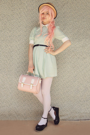 light pink satchel wholesale bag - black creeper style Label Shoes shoes