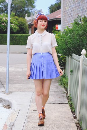 violet thrifted skirt - blue DIY hair accessory - cream thrifted blouse