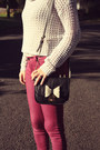 Maroon-wholesale-dress-jeans-white-crochet-forever-21-sweater