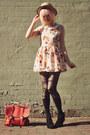 Light-pink-floral-sheinside-dress-beige-boater-wholesale-hat
