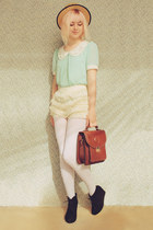 light blue mint peter pan OASAP blouse - beige boater style wholesale hat