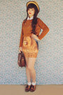 Light-orange-romwe-dress-burnt-orange-vintage-sweater-dark-brown-vintage-bag