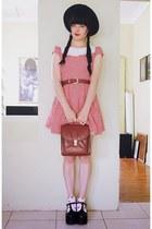 red Bonne Chance Collections dress - brown vintage bag - brick red vintage belt