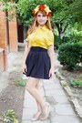 Off-white-shoes-black-skirt-yellow-blouse