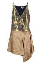 Gold Petal Jacquard Dress