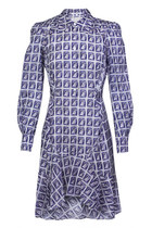 Stamp Print Silk Dress